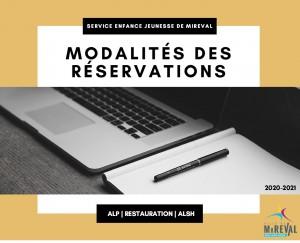 modalites des reservations