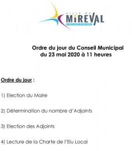 Ordre du jour Conseil Municipal du 23 mai 2020
